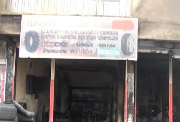 Ergani'de oto lastik atölyesinde yangın