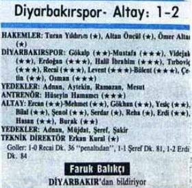 Altay Diyarbakır maçı ile ilgili düşünce