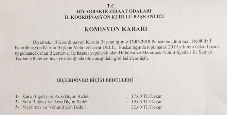 Biçerdöver Biçim Bedeli ve saman satış bedeli açıkladı.