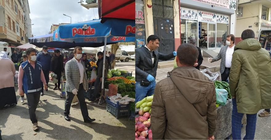 Bismil'de pazar esnafı korona virüsü konusunda bilgilendirildi