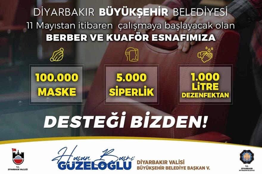 Diyarbakır Büyükşehir Belediyesi berber ve kuaförlere maske dağıtacak