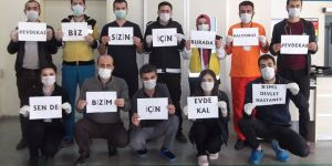 Bismil'de hastane çalışanlarından 'evde kal' çağrısı