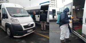 Bismil'de minibüsler de dezenfekte ediliyor